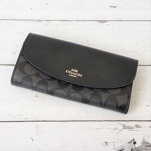 COACH Black Signature Slim Envelope Wallet NWOT